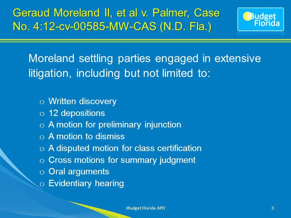 Geraud Moreland II, et al v. Palmer, Case No. 4:12-cv-00585-MW-CAS (N.D.