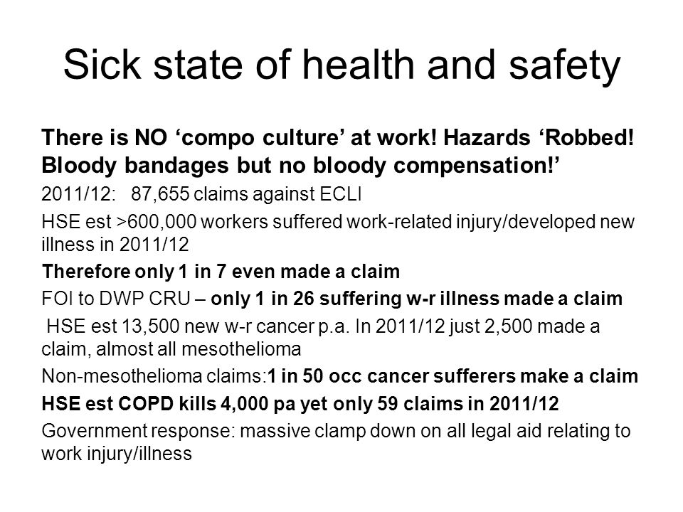 Sick state of health and safety There is NO 'compo culture' at work.