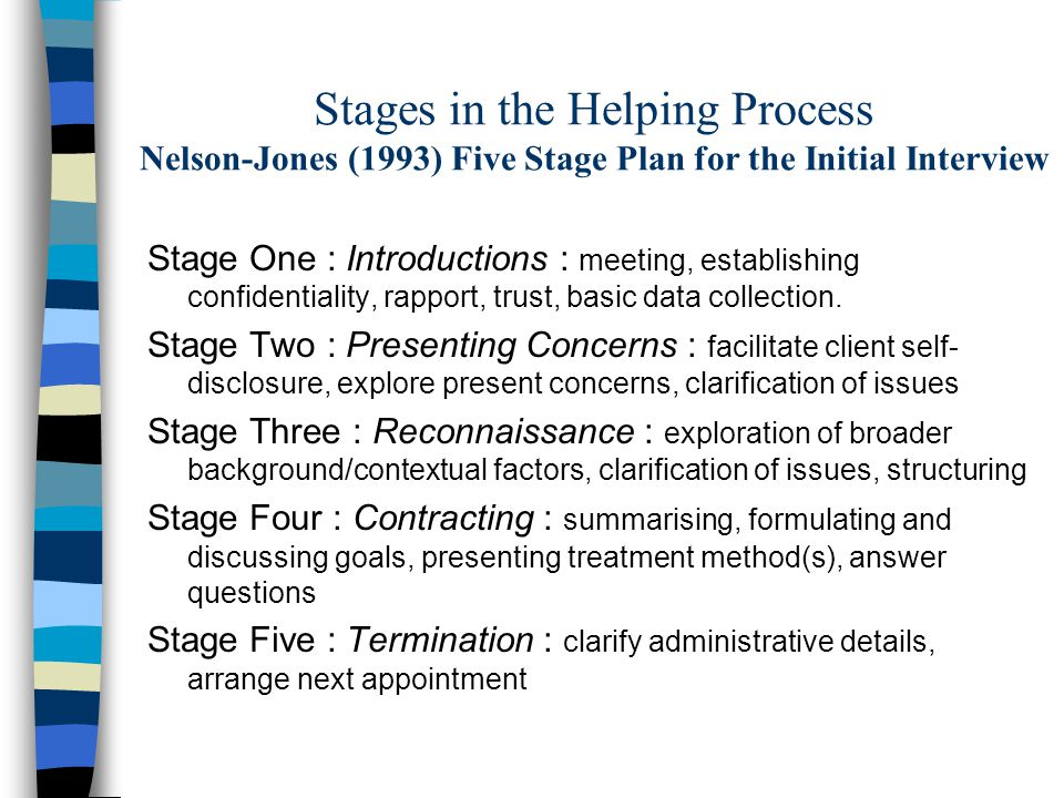 Stages in the Helping Process Nelson-Jones (1993) Five Stage Plan for the Initial Interview Stage One : Introductions : meeting, establishing confidentiality, rapport, trust, basic data collection.