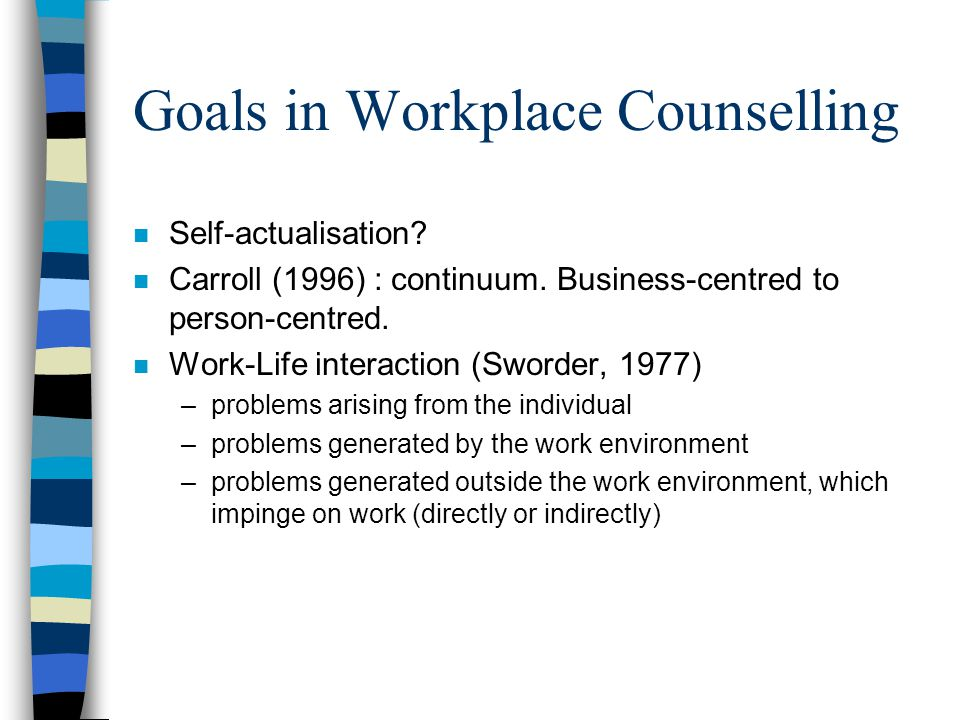 Goals in Workplace Counselling n Self-actualisation.