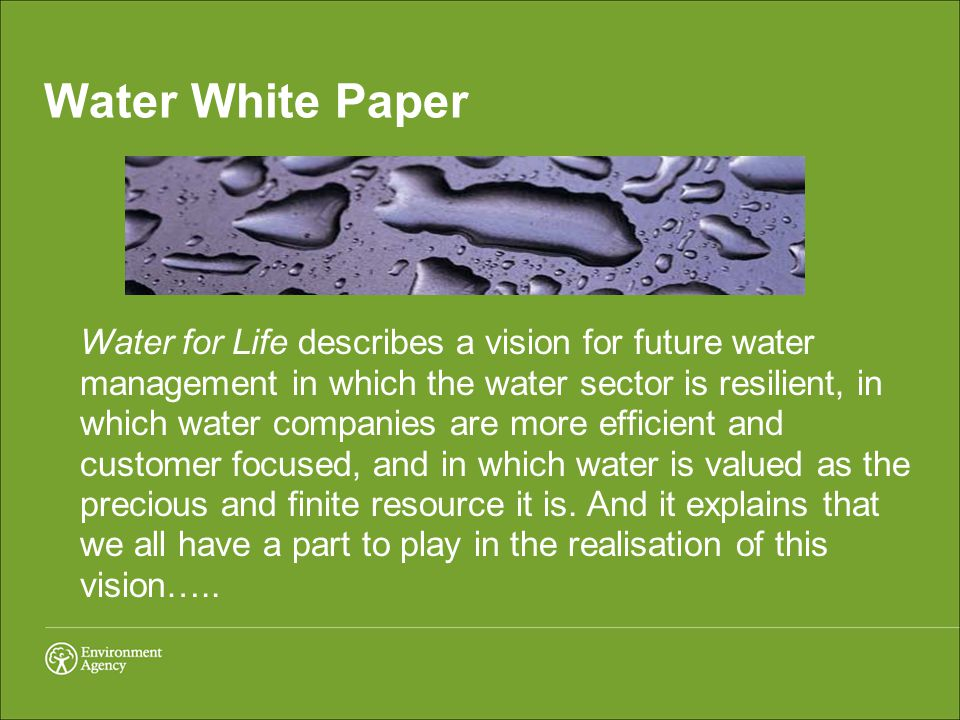 Water White Paper Water for Life describes a vision for future water management in which the water sector is resilient, in which water companies are more efficient and customer focused, and in which water is valued as the precious and finite resource it is.