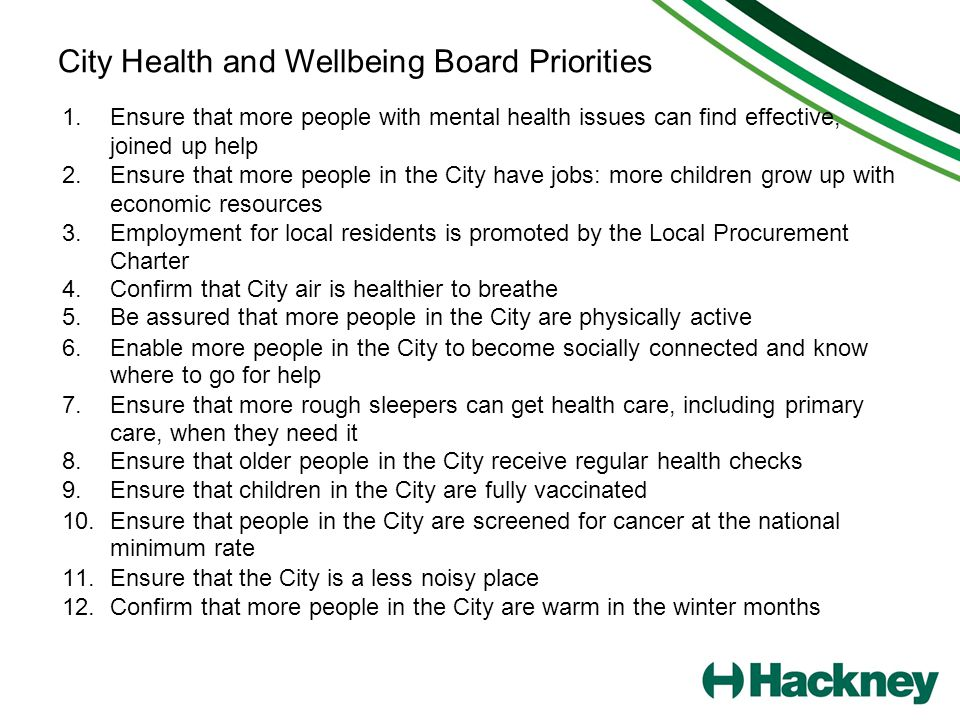 City Health and Wellbeing Board Priorities 1.Ensure that more people with mental health issues can find effective, joined up help 2.Ensure that more p
