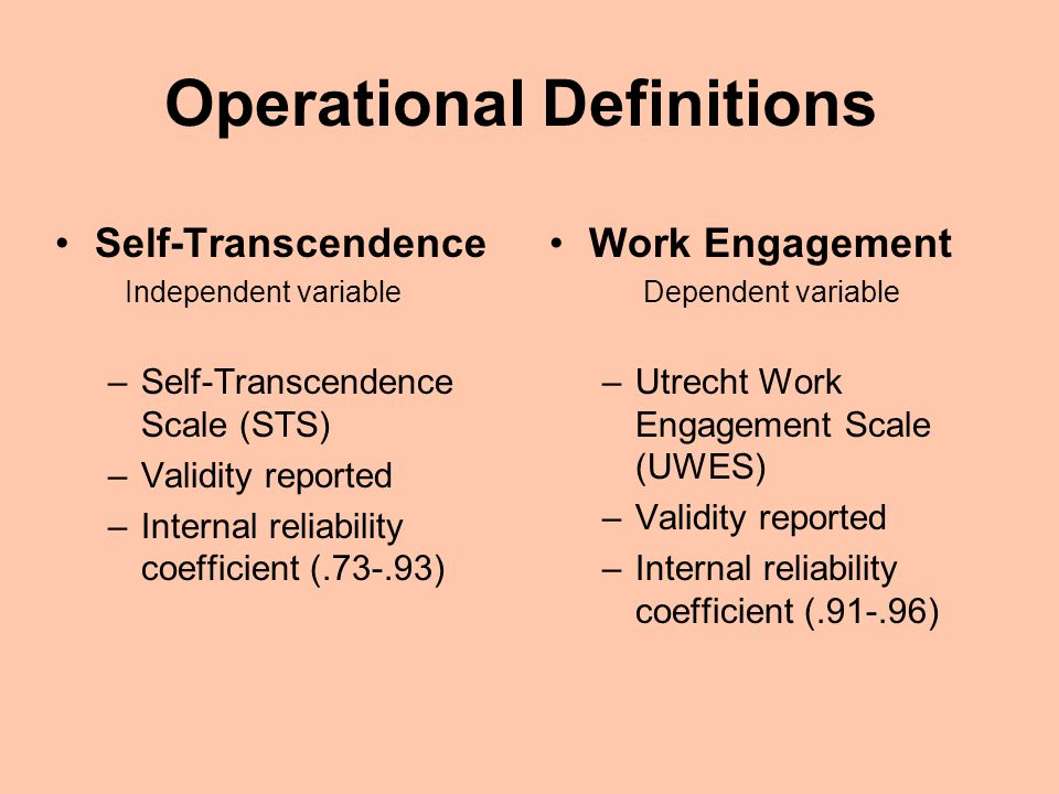 Operational Definitions Self-Transcendence Independent variable –Self-Transcendence Scale (STS) –Validity reported –Internal reliability coefficient (.73-.93) Work Engagement Dependent variable –Utrecht Work Engagement Scale (UWES) –Validity reported –Internal reliability coefficient (.91-.96)
