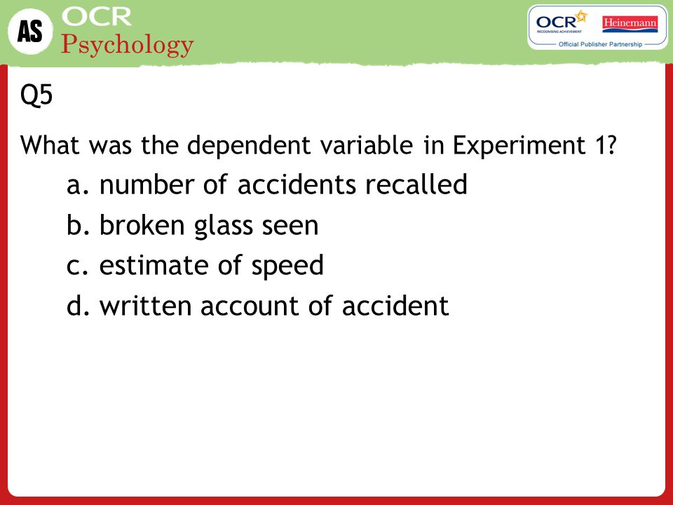 Psychology Q6 What was shown to participants in Experiment 1.