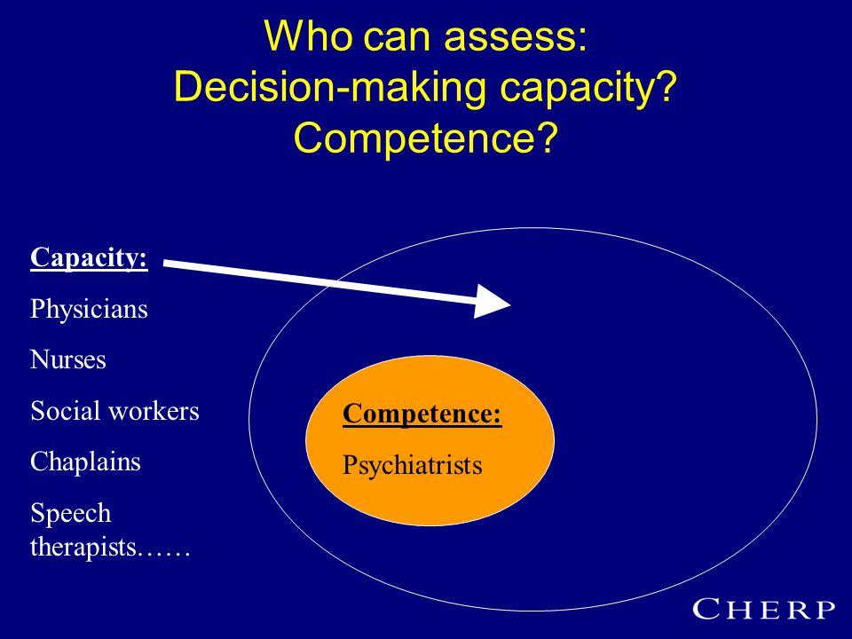 Who can assess: Decision-making capacity. Competence.