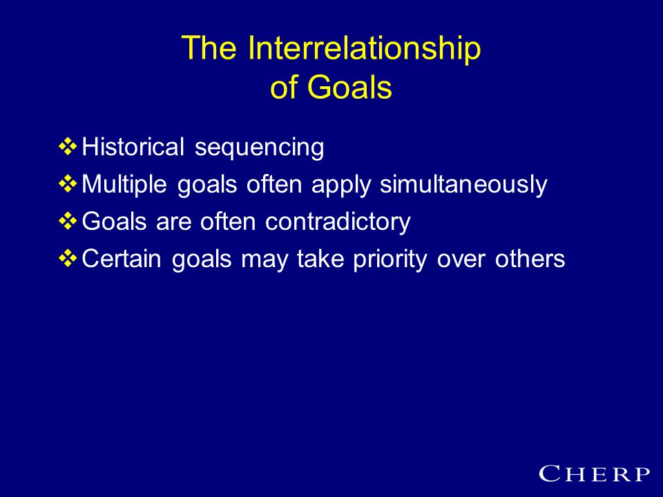 The Interrelationship of Goals  Historical sequencing  Multiple goals often apply simultaneously  Goals are often contradictory  Certain goals may take priority over others