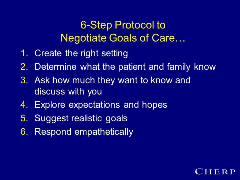 6-Step Protocol to Negotiate Goals of Care… 1.Create the right setting 2.Determine what the patient and family know 3.Ask how much they want to know and discuss with you 4.Explore expectations and hopes 5.Suggest realistic goals 6.Respond empathetically