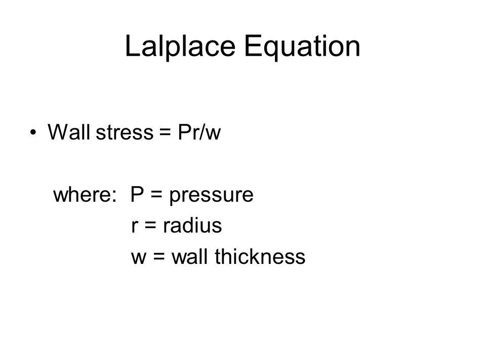 Lalplace Equation Wall stress = Pr/w where: P = pressure r = radius w = wall thickness