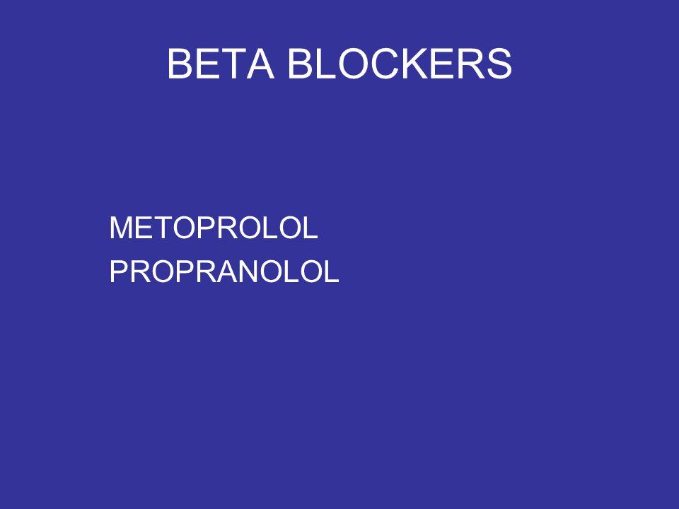 BETA BLOCKERS METOPROLOL PROPRANOLOL