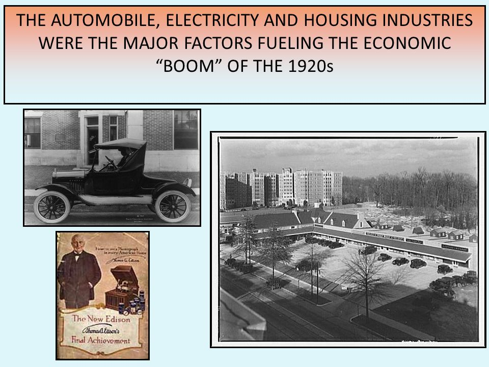 8.) allowed workers to live miles from their jobs = urban sprawl – cities spread in all directions. 9.) auto industry provided an economic base for ma
