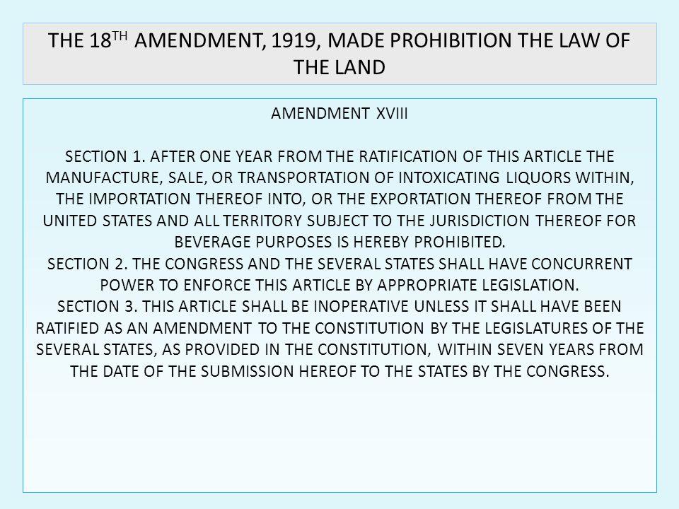 AMENDMENT XVIII SECTION 1.