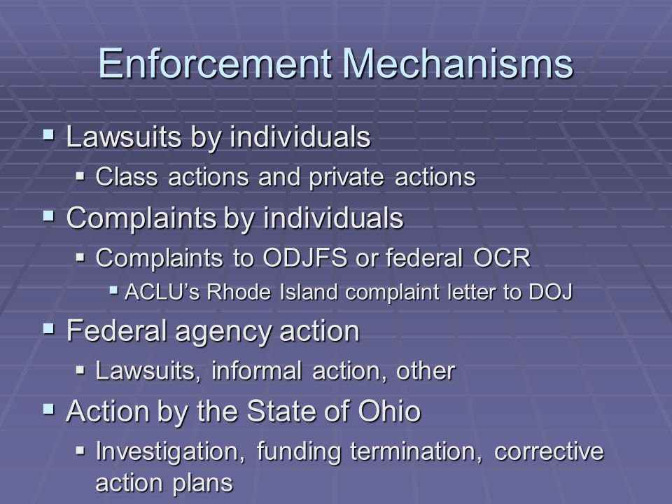 Enforcement Mechanisms  Lawsuits by individuals  Class actions and private actions  Complaints by individuals  Complaints to ODJFS or federal OCR  ACLU's Rhode Island complaint letter to DOJ  Federal agency action  Lawsuits, informal action, other  Action by the State of Ohio  Investigation, funding termination, corrective action plans