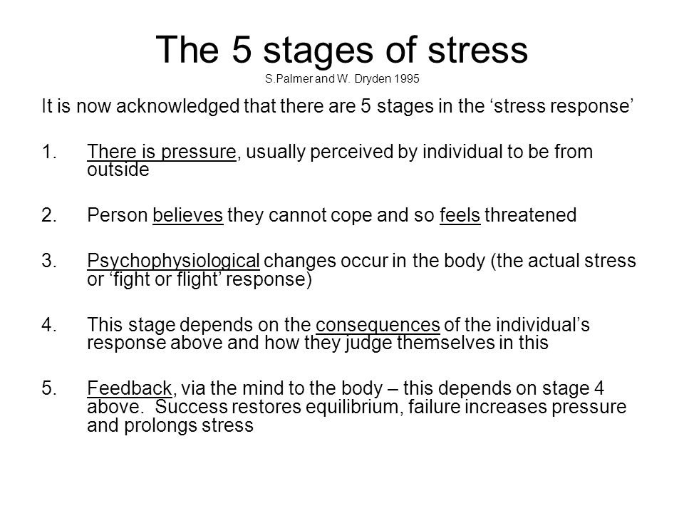 Changing thinking to conquer stress Cary Cooper and Stephen Palmer amongst others propose that we can change how we respond to a pressure by managing how we think about it and thus managing whether it's in fact merely a pressure, or actually a threat (resulting in the stress response).