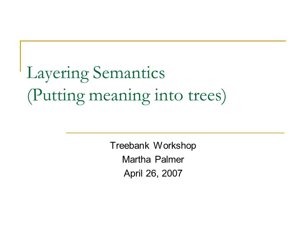 Treebank Workshop/NAACL07 Outline Semantic role labeling, verbs and nouns Treebank/PropBank discrepancies Treebank/NomBank discrepancies Dependencies vs.