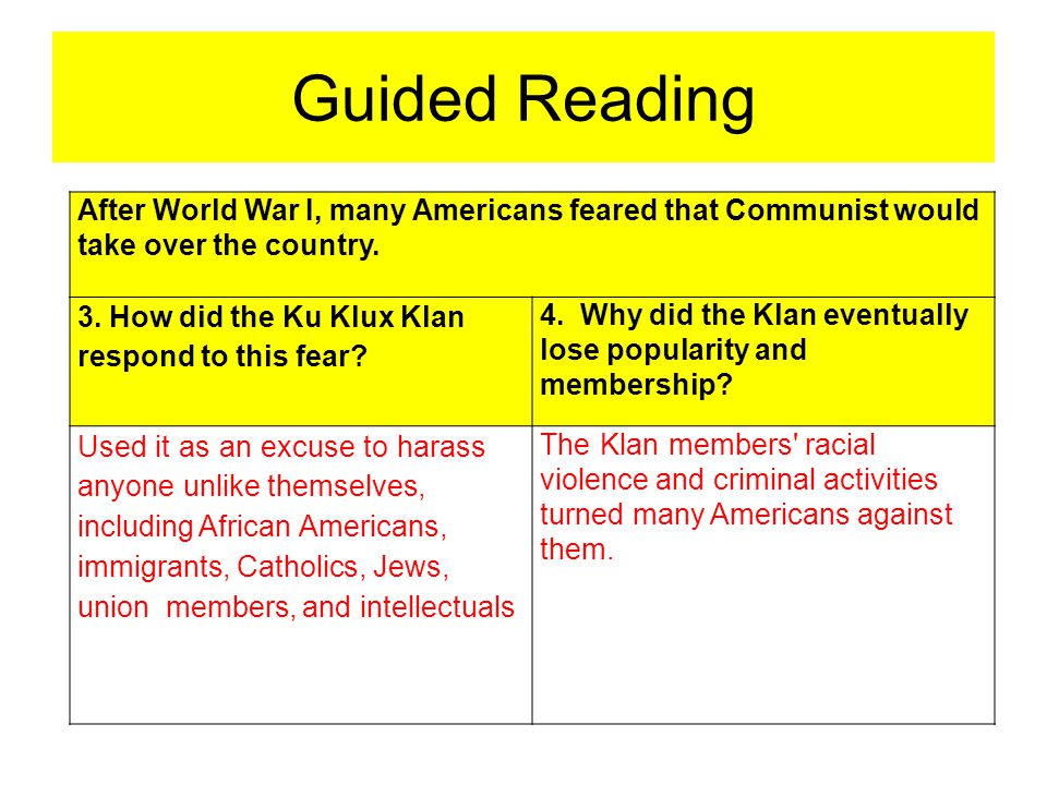 Guided Reading After World War I, many Americans feared that Communist would take over the country. 3. How did the Ku Klux Klan respond to this fear?
