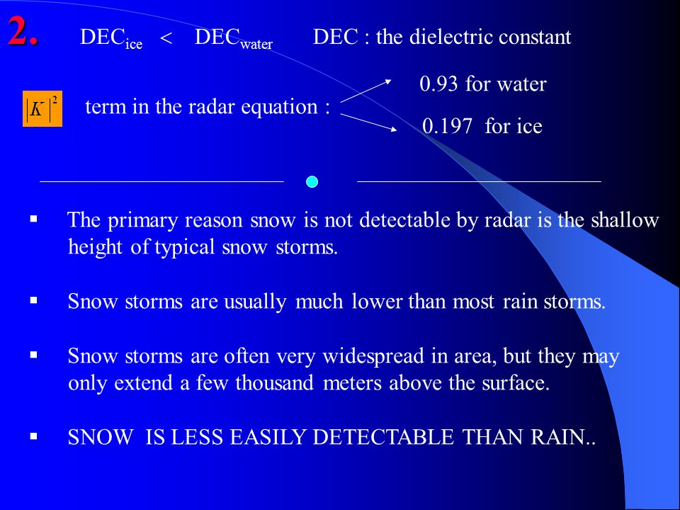 2. 2. DEC ice  DEC water DEC : the dielectric constant term in the radar equation : 0.93 for water 0.197 for ice  The primary reason snow is not det