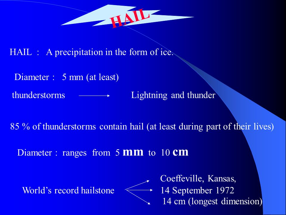 HAIL HAIL : A precipitation in the form of ice. Diameter : 5 mm (at least) thunderstormsLightning and thunder 85 % of thunderstorms contain hail (at l