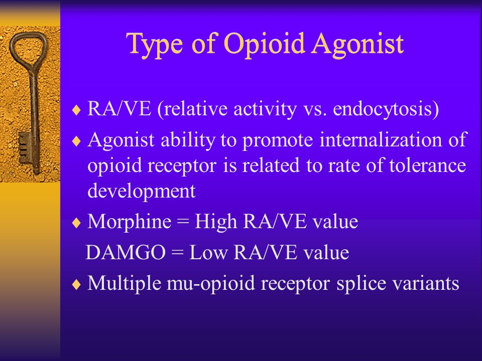 Type of Opioid Agonist  RA/VE (relative activity vs.