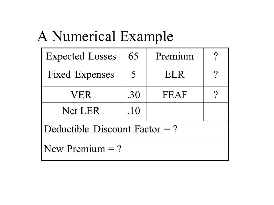 A Numerical Example New Premium = .