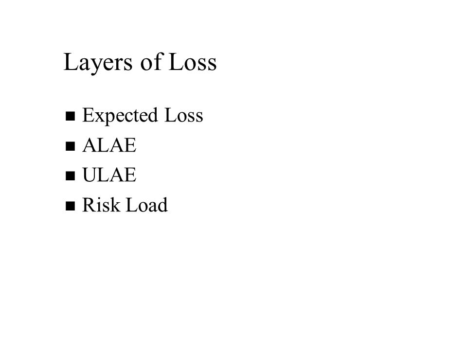 Layers of Loss Expected Loss ALAE ULAE Risk Load