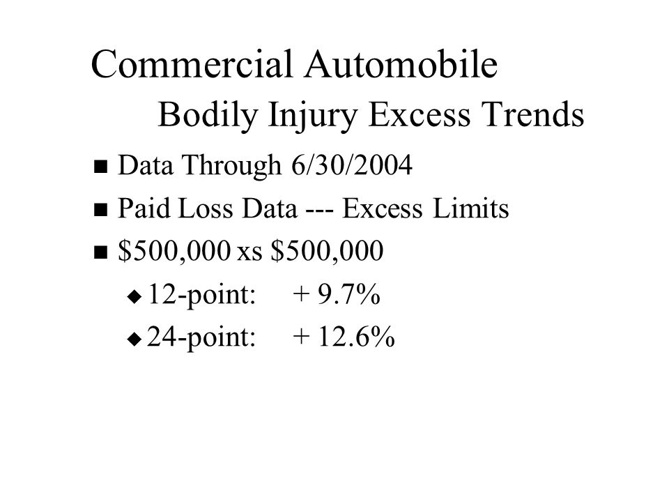 Commercial Automobile Bodily Injury Excess Trends Data Through 6/30/2004 Paid Loss Data --- Excess Limits $500,000 xs $500,000   12-point:+ 9.7%   24-point: + 12.6%