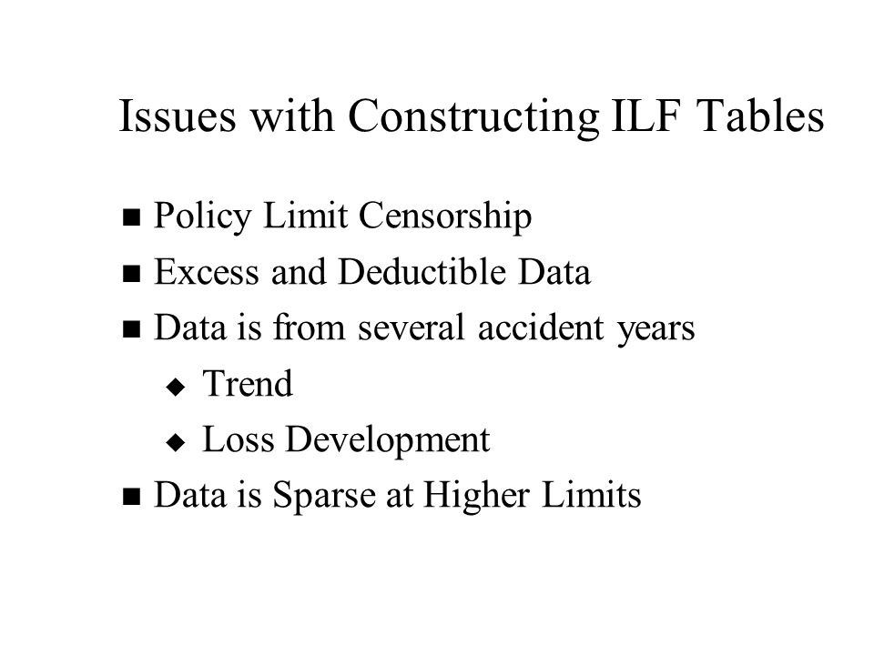 Issues with Constructing ILF Tables Policy Limit Censorship Excess and Deductible Data Data is from several accident years   Trend   Loss Development Data is Sparse at Higher Limits