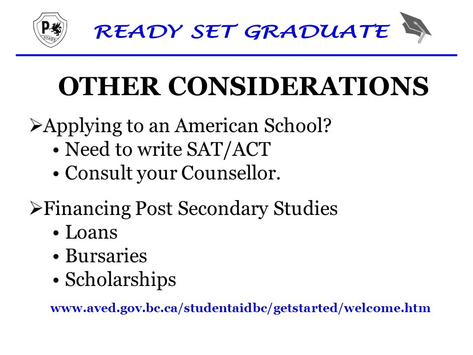 OTHER CONSIDERATIONS  Applying to an American School.