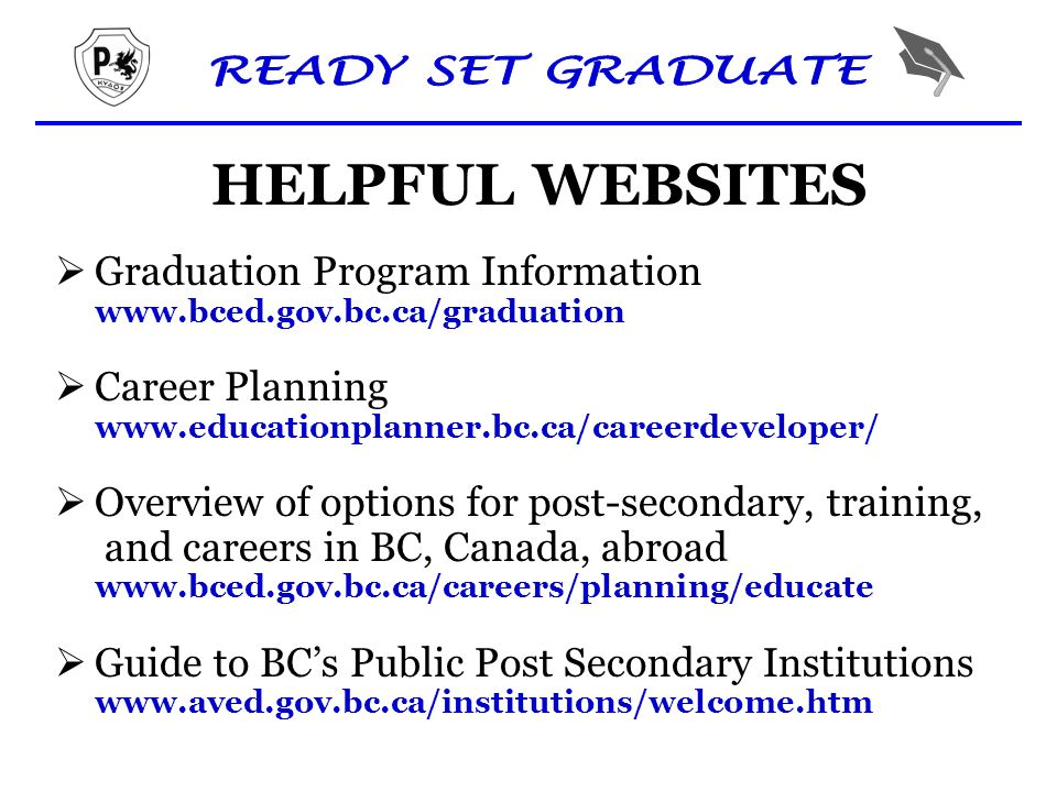 HELPFUL WEBSITES  Graduation Program Information www.bced.gov.bc.ca/graduation  Career Planning www.educationplanner.bc.ca/careerdeveloper/  Overview of options for post-secondary, training, and careers in BC, Canada, abroad www.bced.gov.bc.ca/careers/planning/educate  Guide to BC's Public Post Secondary Institutions www.aved.gov.bc.ca/institutions/welcome.htm