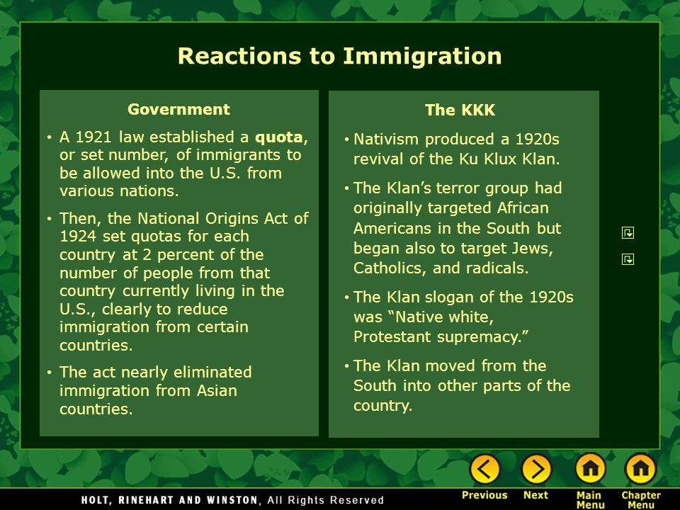 Reactions to Immigration The KKK Nativism produced a 1920s revival of the Ku Klux Klan.