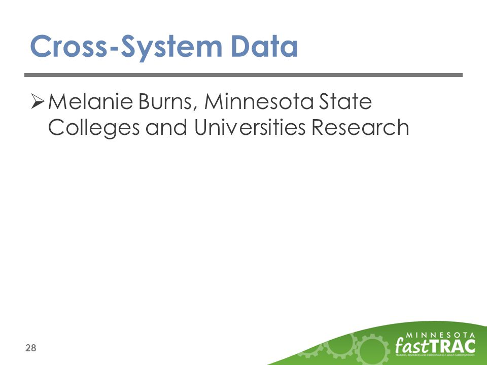 Cross-System Data  Melanie Burns, Minnesota State Colleges and Universities Research 28