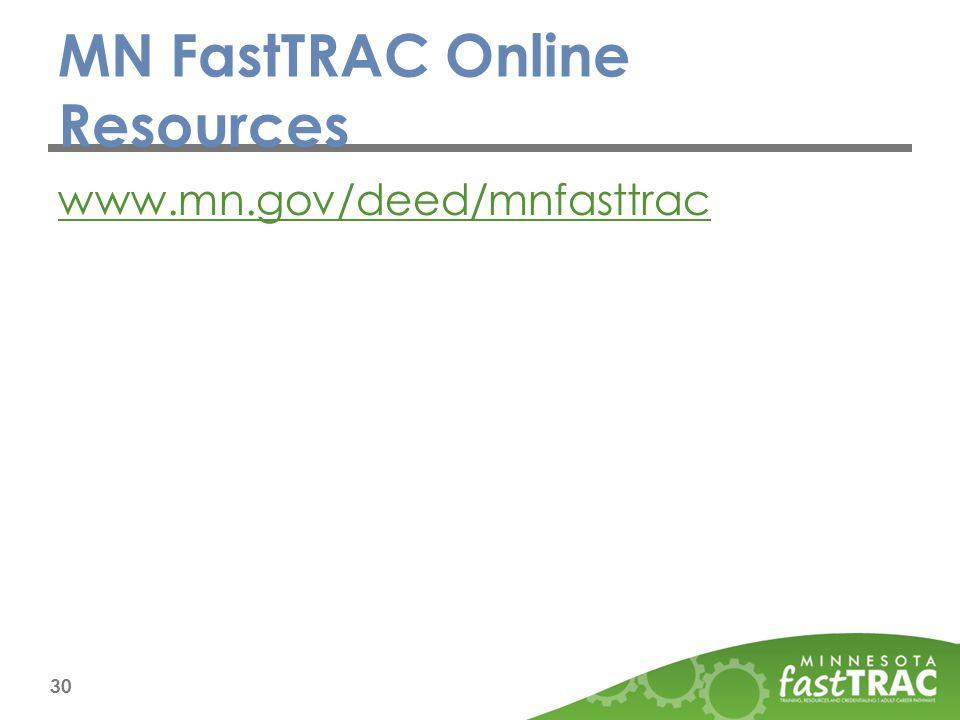 MN FastTRAC Online Resources www.mn.gov/deed/mnfasttrac 30