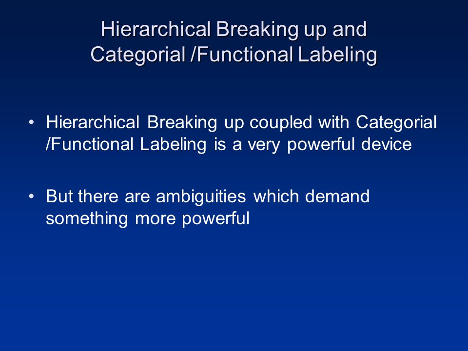 Hierarchical Breaking up and Categorial /Functional Labeling Hierarchical Breaking up coupled with Categorial /Functional Labeling is a very powerful
