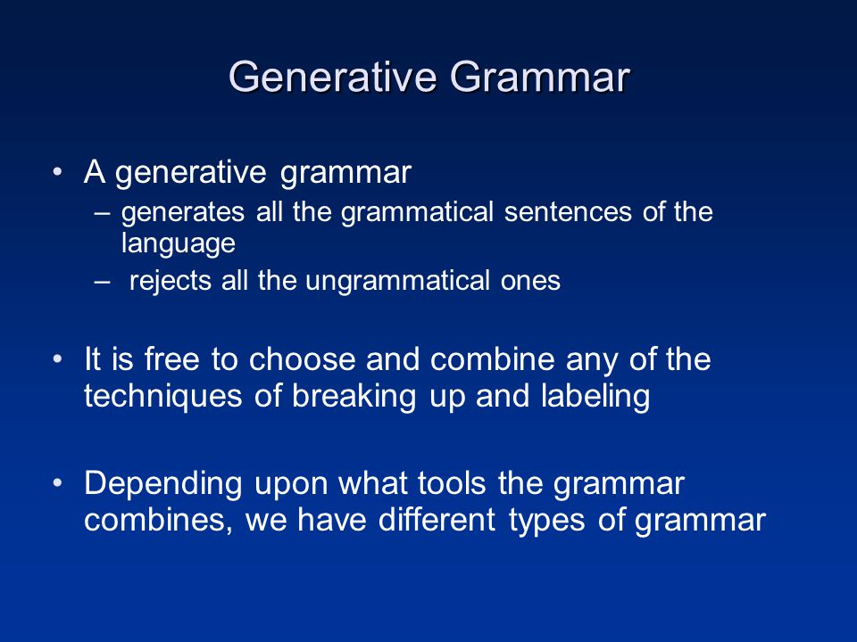 Generative Grammar A generative grammar –generates all the grammatical sentences of the language – rejects all the ungrammatical ones It is free to ch