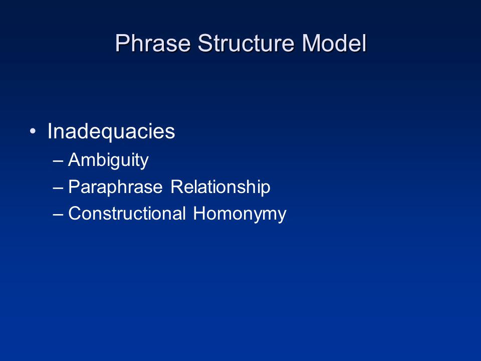 Phrase Structure Model Inadequacies –Ambiguity –Paraphrase Relationship –Constructional Homonymy