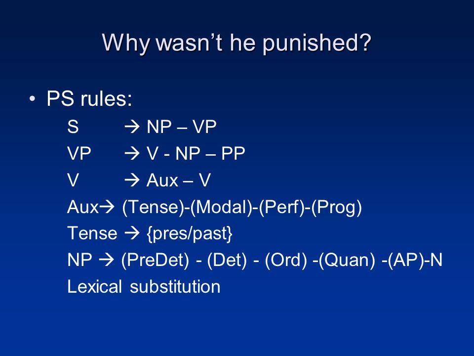 Why wasn't he punished? PS rules: S  NP – VP VP  V - NP – PP V  Aux – V Aux  (Tense)-(Modal)-(Perf)-(Prog) Tense  {pres/past} NP  (PreDet) - (De