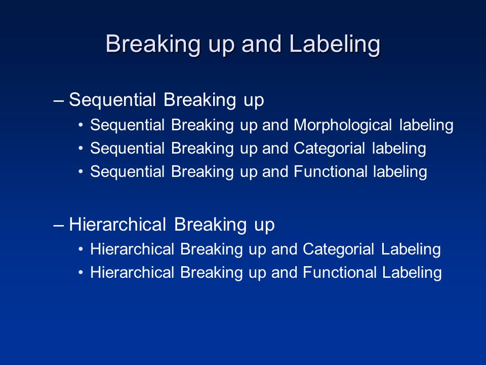 Breaking up and Labeling –Sequential Breaking up Sequential Breaking up and Morphological labeling Sequential Breaking up and Categorial labeling Sequ