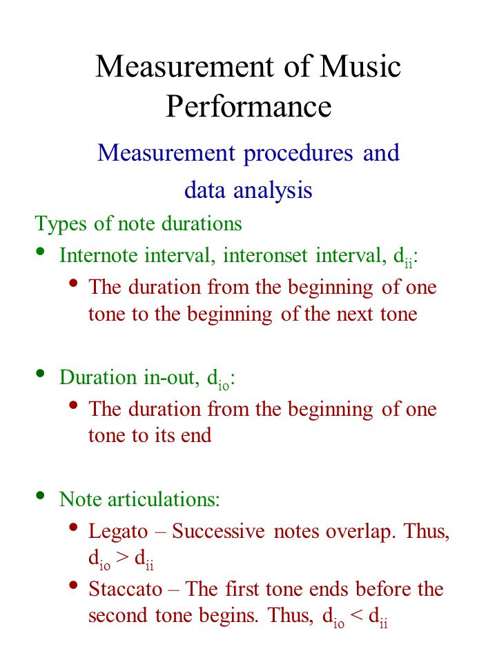 Measurement of Music Performance Timing and dynamics Hypothesized duration relations