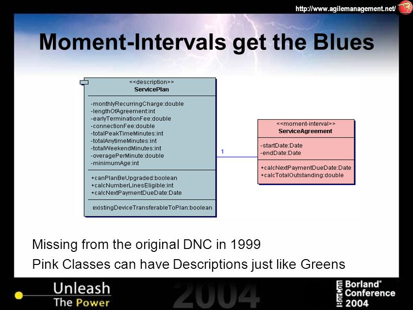 http://www.agilemanagement.net/ Moment-Intervals get the Blues Missing from the original DNC in 1999 Pink Classes can have Descriptions just like Gree