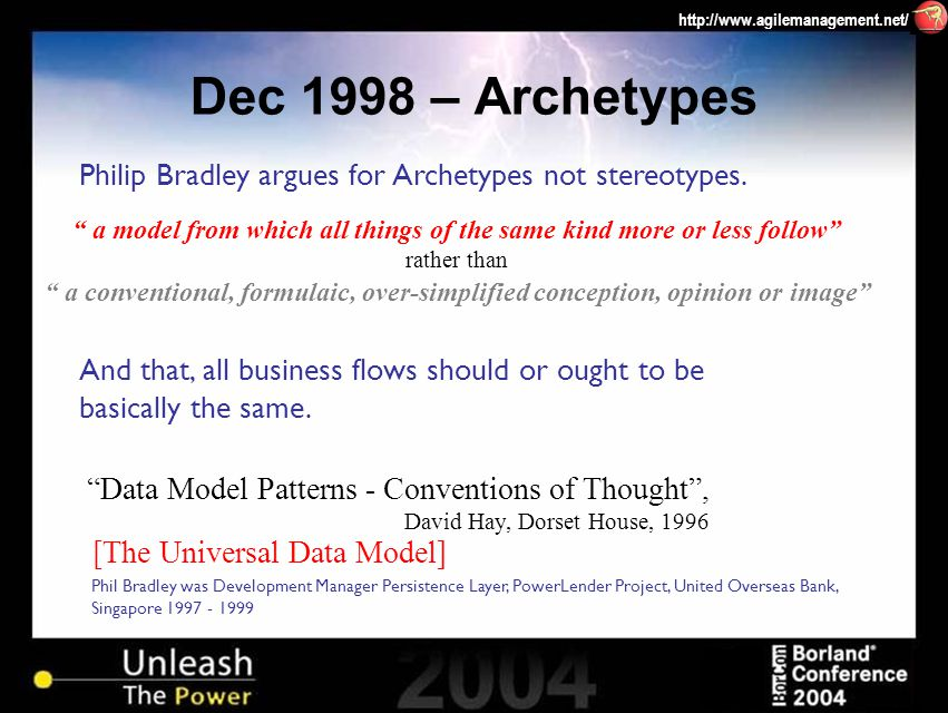 http://www.agilemanagement.net/ Phil Bradley was Development Manager Persistence Layer, PowerLender Project, United Overseas Bank, Singapore 1997 - 1999 Philip Bradley argues for Archetypes not stereotypes.
