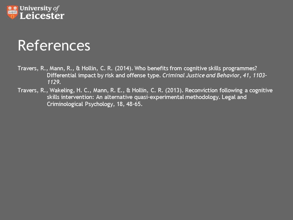 References Travers, R., Mann, R., & Hollin, C. R.