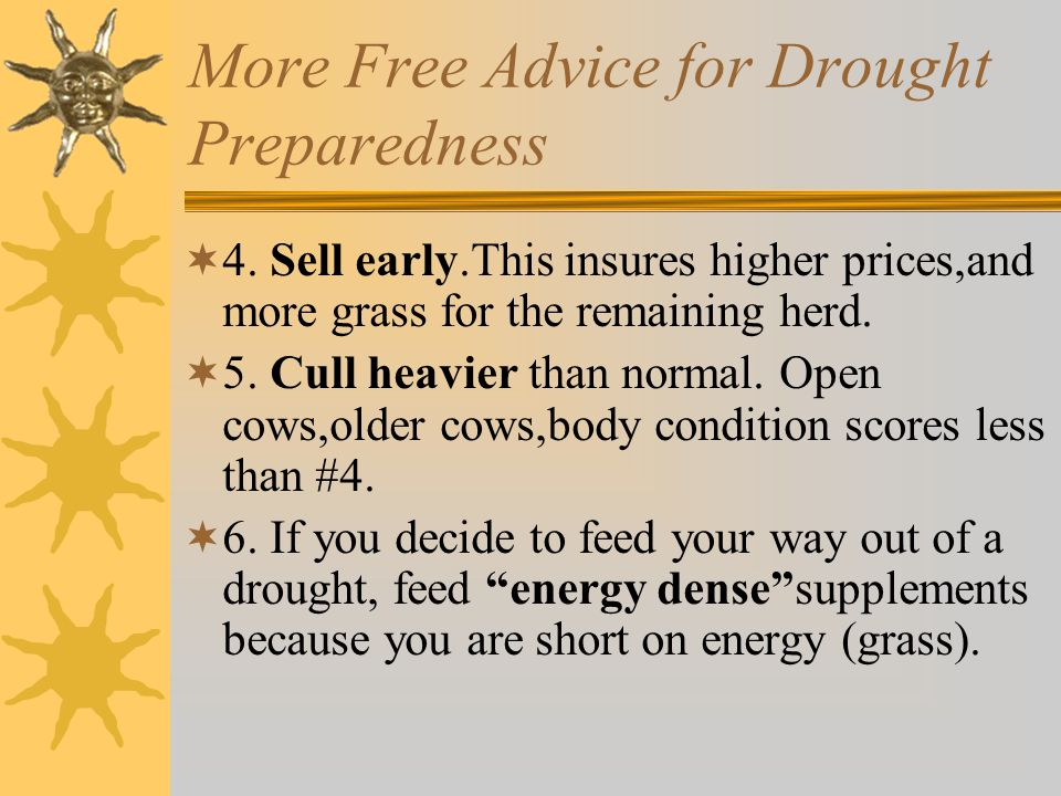 More Free Advice for Drought Preparedness  4.