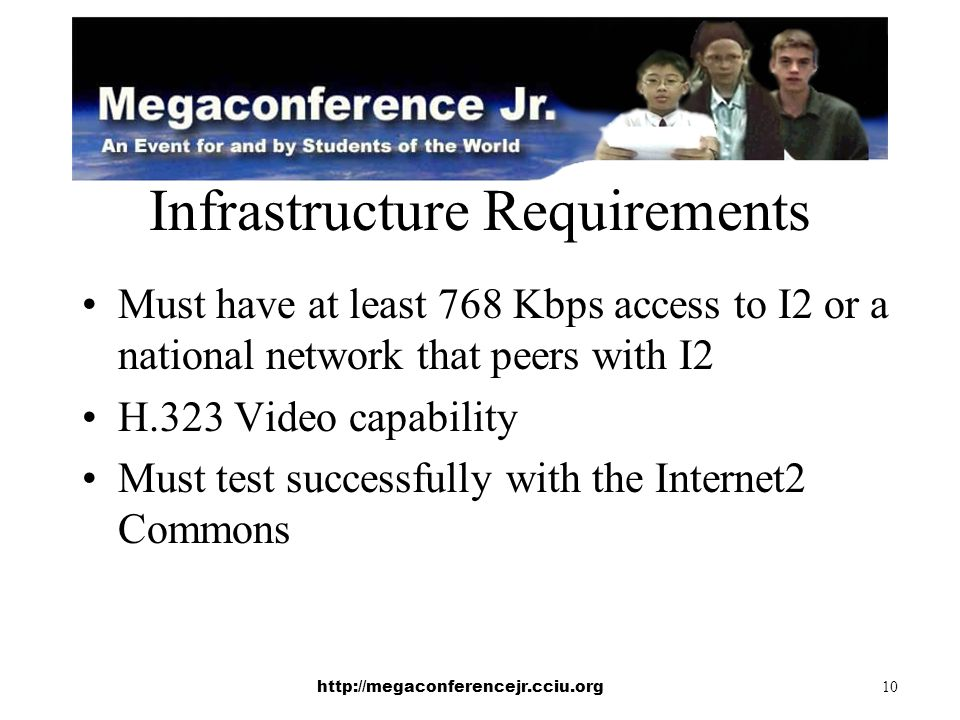 http://megaconferencejr.cciu.org 10 Infrastructure Requirements Must have at least 768 Kbps access to I2 or a national network that peers with I2 H.323 Video capability Must test successfully with the Internet2 Commons