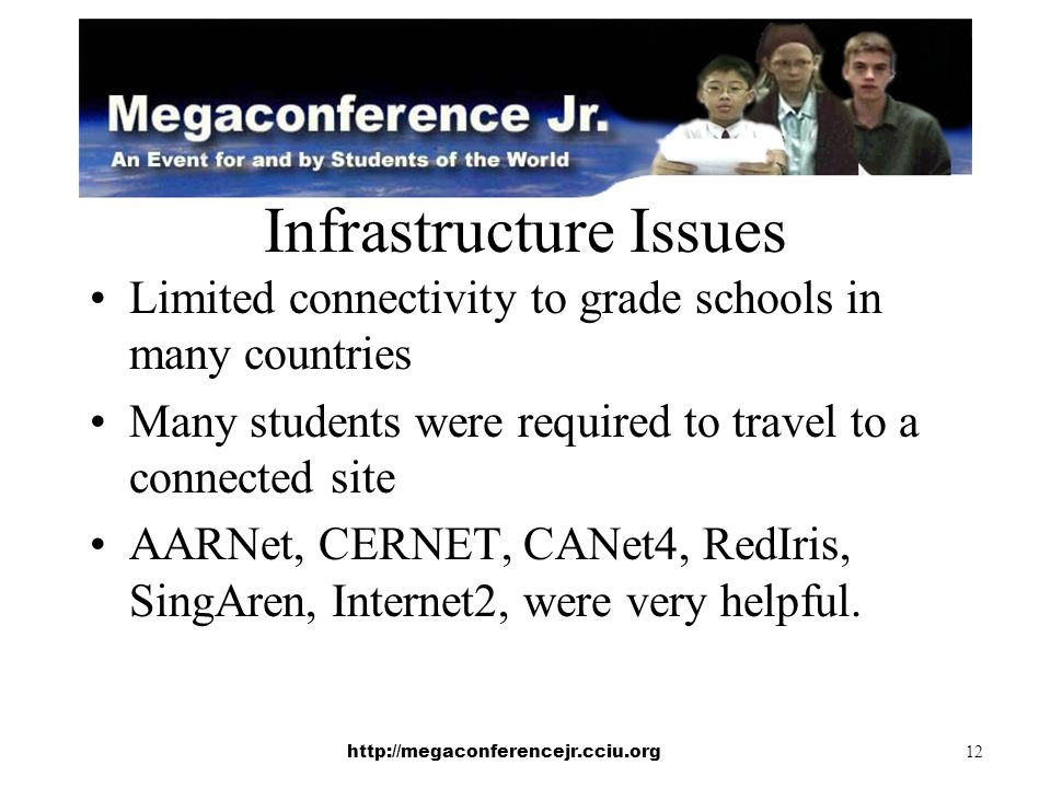 http://megaconferencejr.cciu.org 12 Infrastructure Issues Limited connectivity to grade schools in many countries Many students were required to travel to a connected site AARNet, CERNET, CANet4, RedIris, SingAren, Internet2, were very helpful.