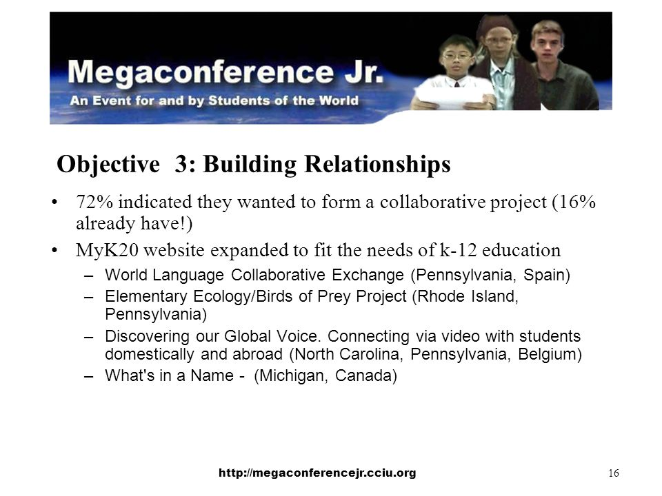 http://megaconferencejr.cciu.org 16 Objective 3: Building Relationships 72% indicated they wanted to form a collaborative project (16% already have!) MyK20 website expanded to fit the needs of k-12 education –World Language Collaborative Exchange (Pennsylvania, Spain) –Elementary Ecology/Birds of Prey Project (Rhode Island, Pennsylvania) –Discovering our Global Voice.