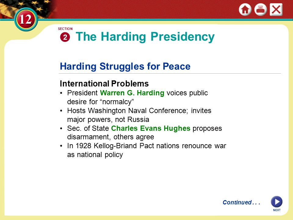 Harding Struggles for Peace International Problems President Warren G.