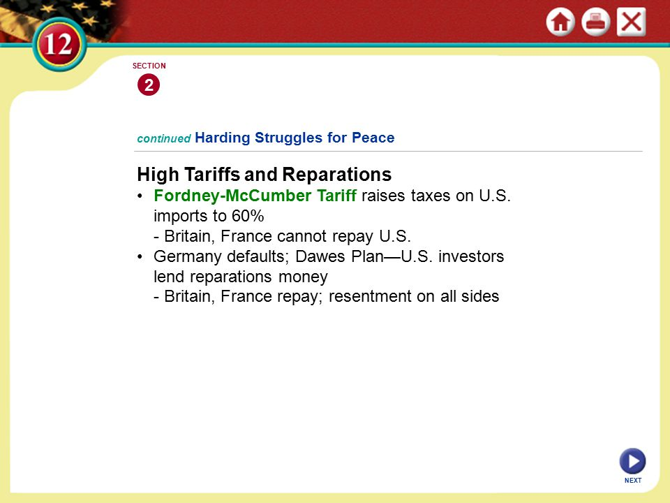 continued Harding Struggles for Peace High Tariffs and Reparations Fordney-McCumber Tariff raises taxes on U.S.