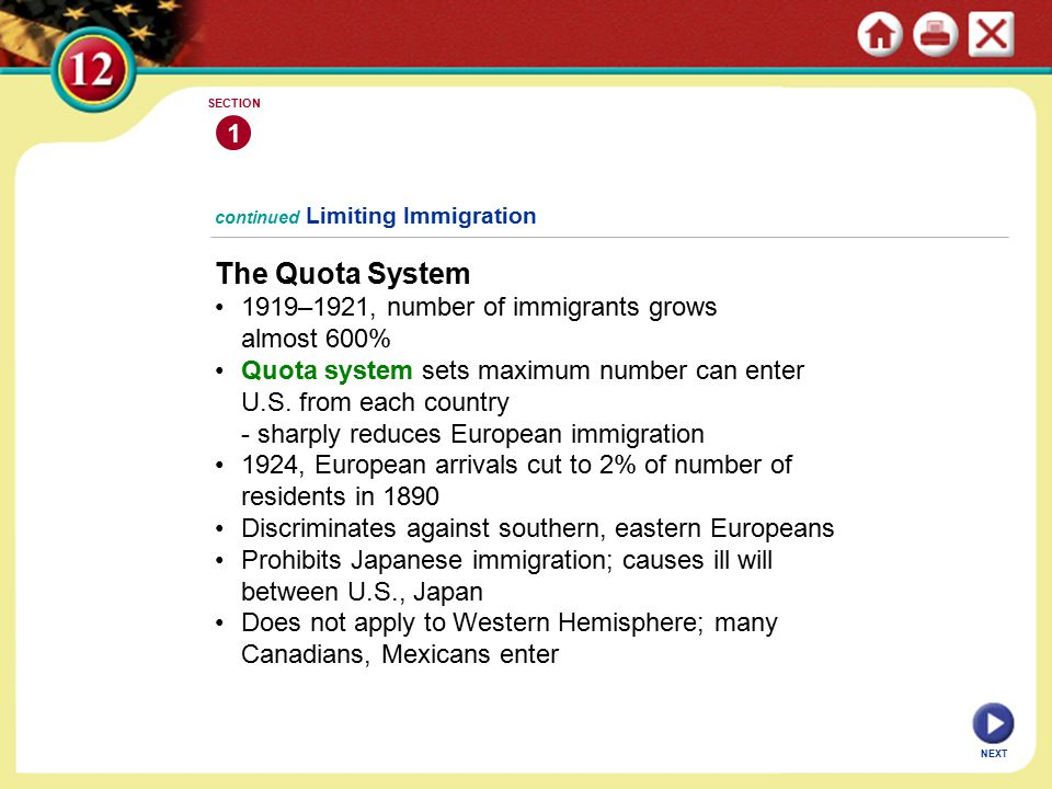 continued Limiting Immigration The Quota System 1919–1921, number of immigrants grows almost 600% Quota system sets maximum number can enter U.S.