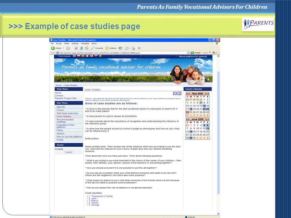 Parents As Family Vocational Advisors For Children >>> >>> Example of case studies page
