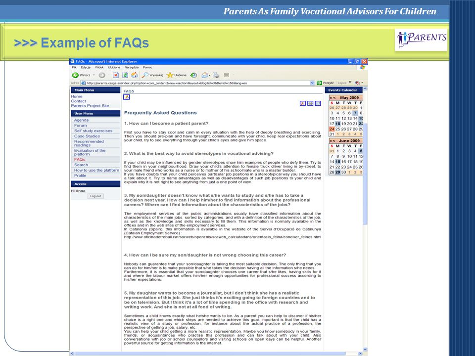 Parents As Family Vocational Advisors For Children >>> >>> Example of FAQs