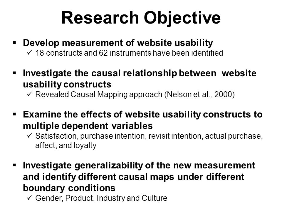  Current inconsistency and incompleteness among website usability measurement is the crucial problem of website usability studies.